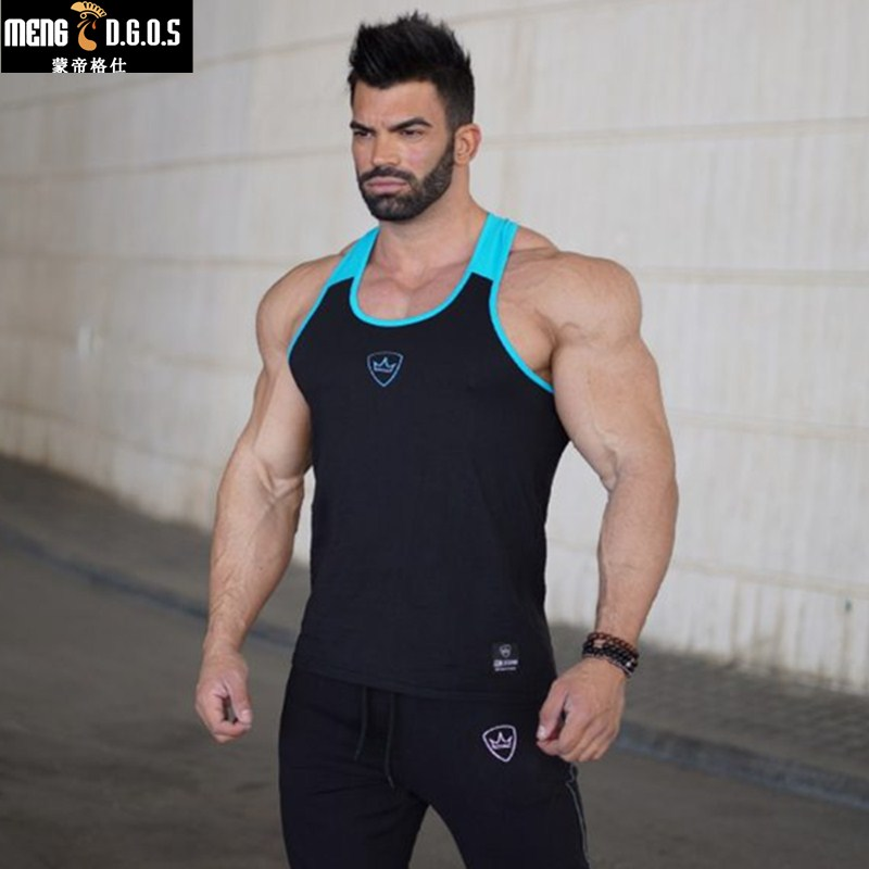 2018Gyms   tank     top   men Sleeveless Vest   TOP   Undershirt casual fitness Mens casual print Red gray black