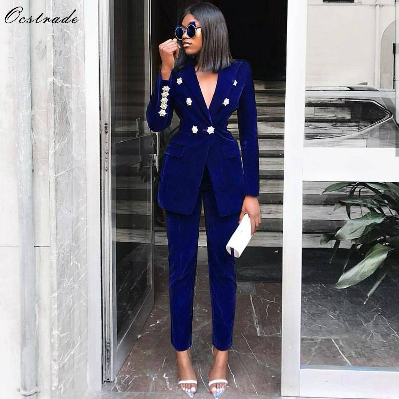 Ocstrade Summer Sets for Women 2019 New Navy Blue V Neck Long Sleeve Sexy 2 Piece