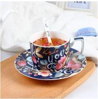 2018 New style European style coffee cup set English afternoon tea cup China rose personality Free shipping