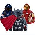 Niños Ropa 2016 Niños del otoño Avengers Niños Chaquetas y Abrigos de Los Niños ropa de Abrigo y Abrigos Superhéroe Captain America Chaqueta
