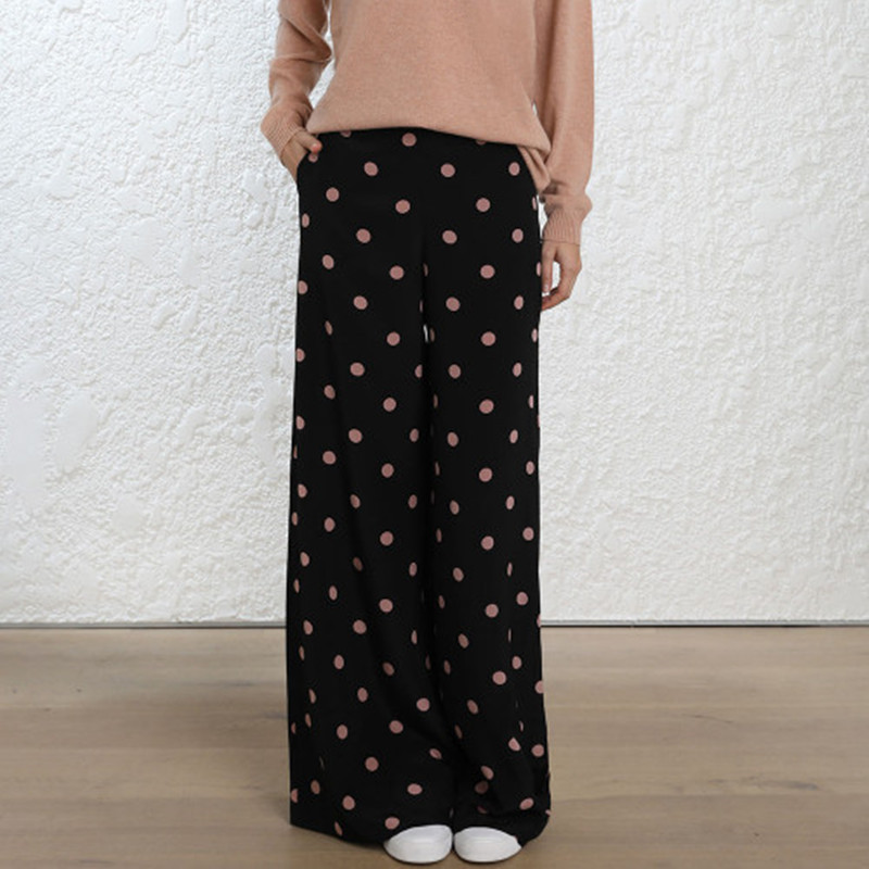 Women Unbridled Flared   Wide     Leg     Pants   In Black And Rose Dot Print