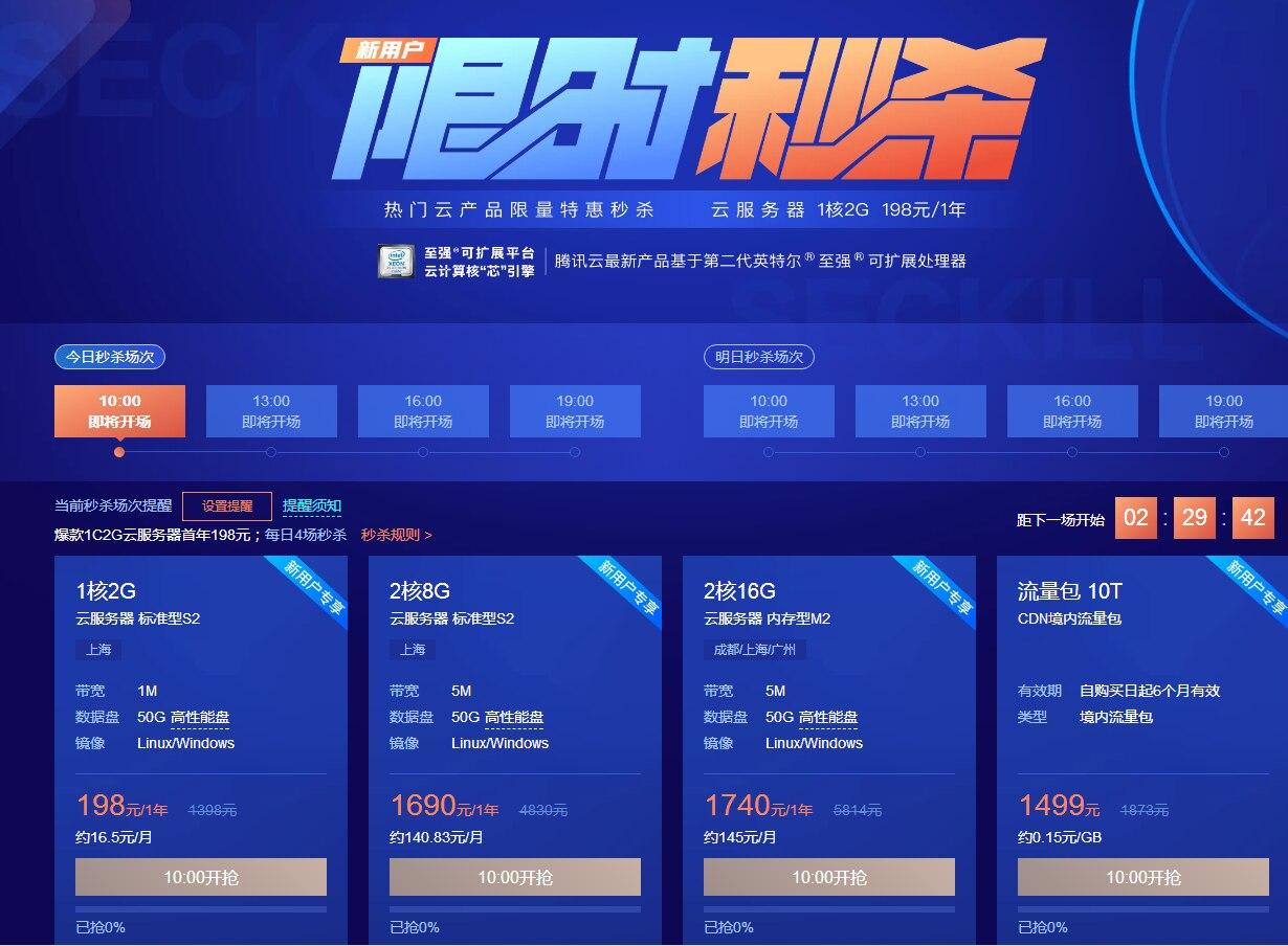羊毛党之家 腾讯云秒杀:上海单核/2G内存/50G硬盘/1M年付198元起