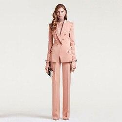 Пиджак + брюки женский деловой костюм Женская Офисная Униформа Женский официальный брючный костюм двубортный женский смокинг на заказ
