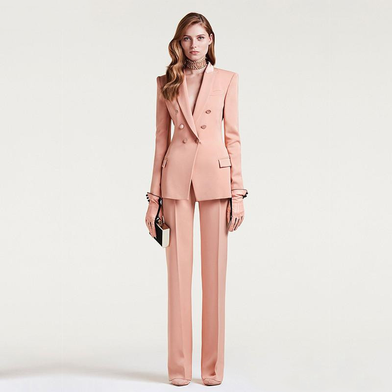 Jacket+Pants Women's Business Suit Female Office Uniform Ladies Formal Trouser Suit Double Breasted Women's Tuxedo Custom