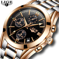 Fashion Mens LIGE Watches Top Brand Luxury Business Quartz Watch Men Waterproof Full Steel Clock Male