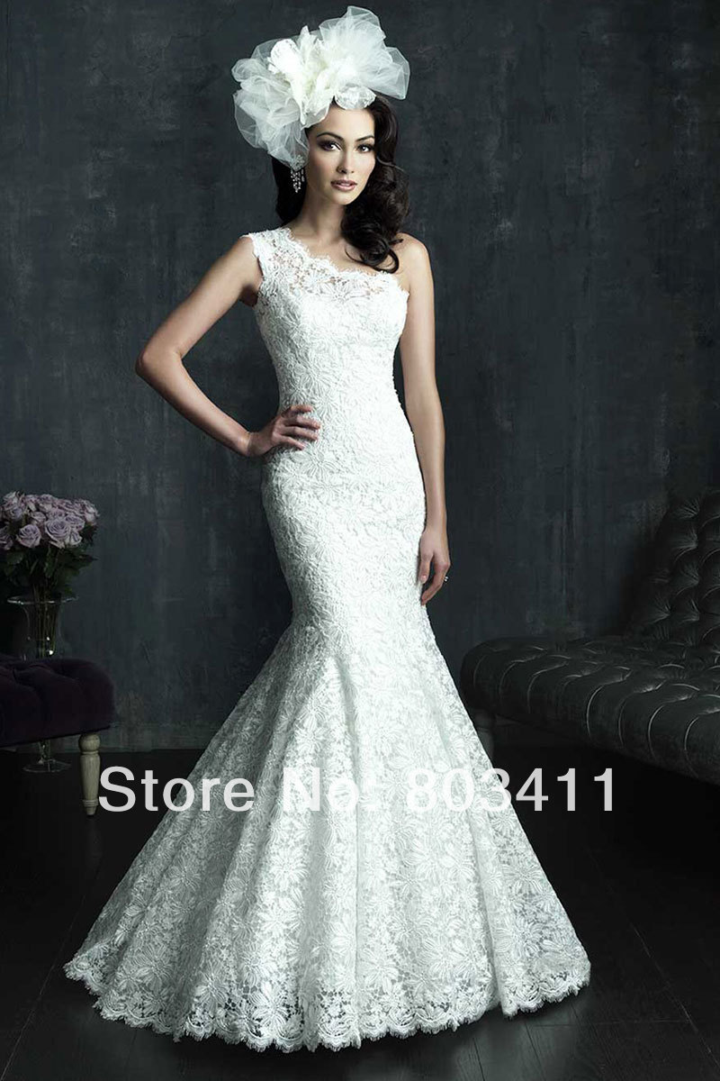 One Shoulder Brush Train Natural Waist Trumpet Button Back Lace Wedding Gown Dress