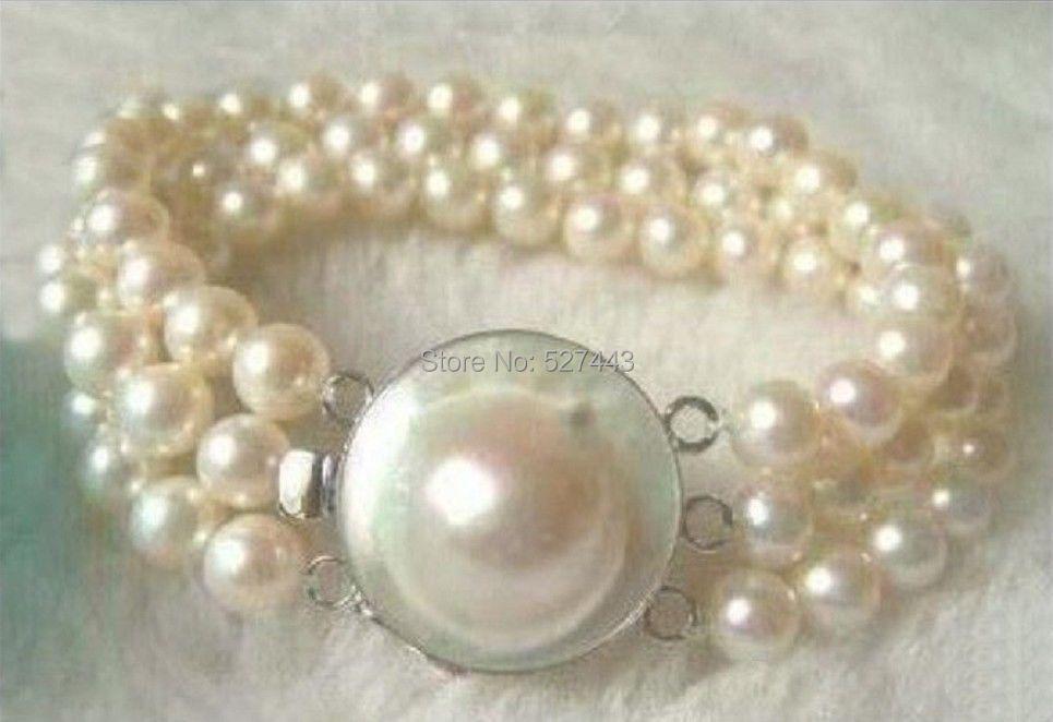 34bac55dd Venta al por mayor 320216  realmente hermoso natural 3 filas 8-9mm Sur mar  blanco perla pulsera 7.5-8