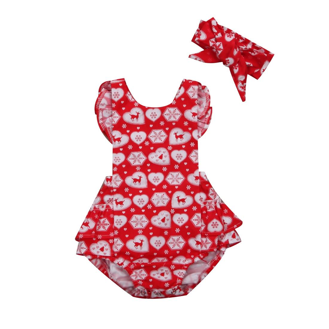 Милые рождественские малышей Комбинезоны для маленьких девочек с рисунком оленя комбинезон без рукавов повязка на голову, комплект одежды ...