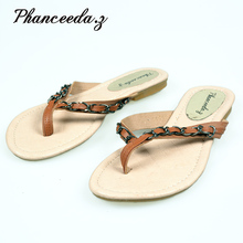 New 2018 Summer Style Flip Flops  Zapatos Mujer Fashion Beach Flat Shoes Woman Sandals Chain Slippers Casual Size 5-10