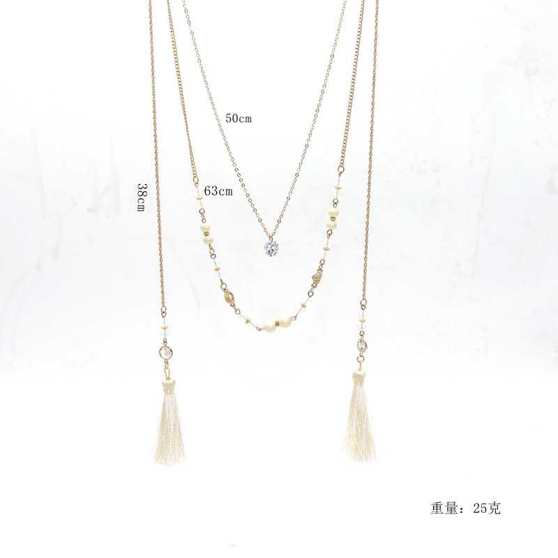 ENZE אופנה חדשה חרוזים חצץ חבל לבן שלוש שכבה לבנה אלגנטית גבירות סגסוגת שרשרת ציצית לבנה לנשים בנות