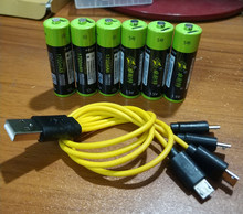 6pcs ZNTER 1.5V AA 2550mwh USB AA 1.5V 1700mAh li-polymer li-po rechargeable lithium li-ion battery with USB cable pack(China)