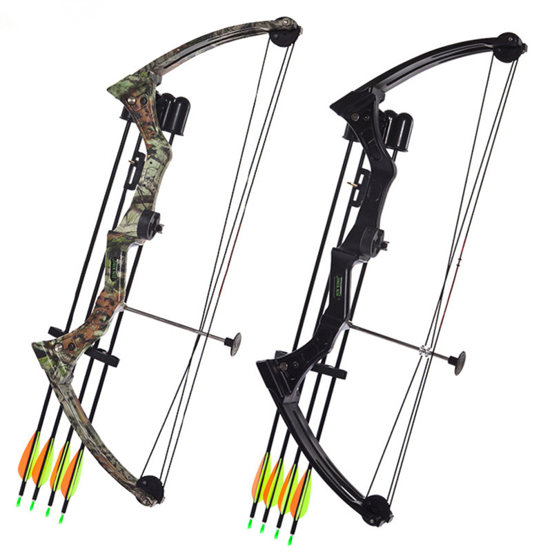 Two Size For Chosen 20 Pounds Aluminium Alloy Bow Hunting Bow & Arrow Set Pulley Fish Shooting Bow For Kids Adult