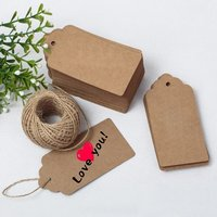 100 PCS Kraft Paper Card Gift Tags With String Wedding Brown Rectangle Craft Hang Tags Price