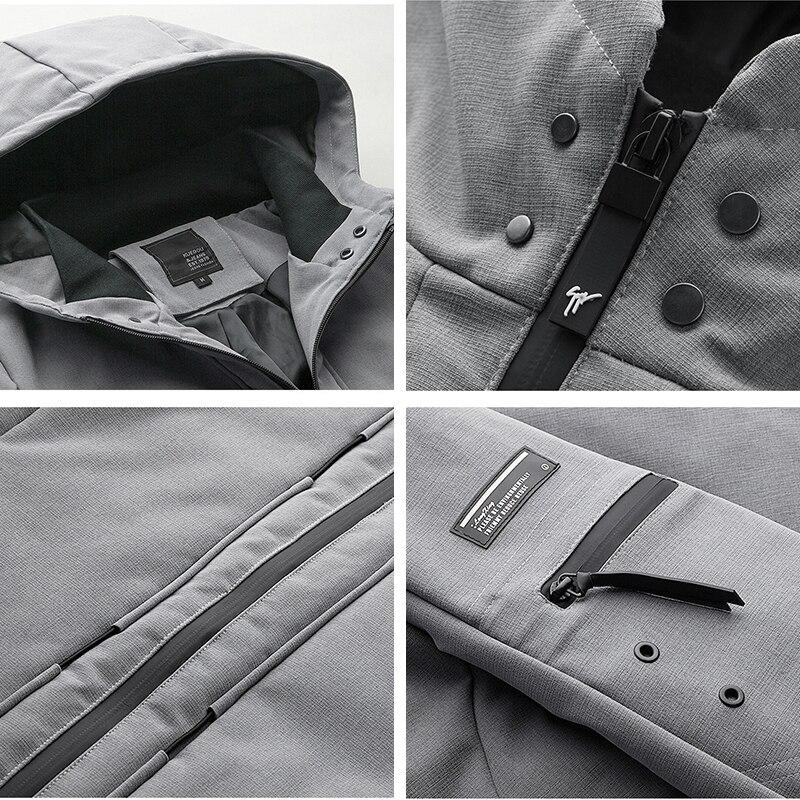 Neue Winter Herren Parkas Mit Kapuze Dicke Grau Schwarz Farbe Marke Kleidung Man Slim Fit Warme Kleidung Männlichen Tragen Mäntel plus Größe 21606 - 5