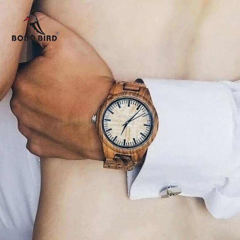 BOBO BIRD WG23 Mens Designer Handmade Wood Wristwatches Full Natural Zabra Wooden Band Quartz Watch With In Wood Box Relogio