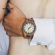 BOBO BIRD WG23 Mens Designer Handmade Wood Wristwatches Full Natural Zabra Wooden Band Quartz