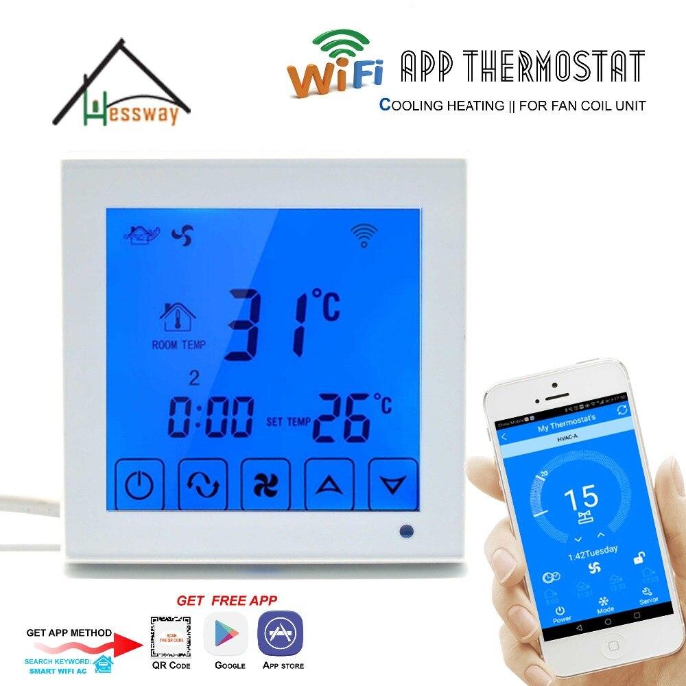 HESSWAY 2 p 4 p Central climatiseur De Refroidissement Chauffage Intelligent WiFi Thermostat pour Ventilo-convecteur Régulateur de Température ambiante