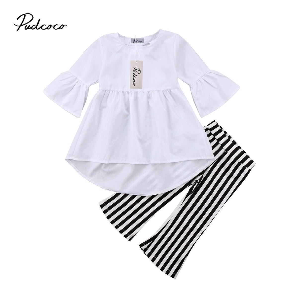 Newborn Baby Kids Girls Short Sleeve Striped T-shirt Tops Falbala Bottom Blouse