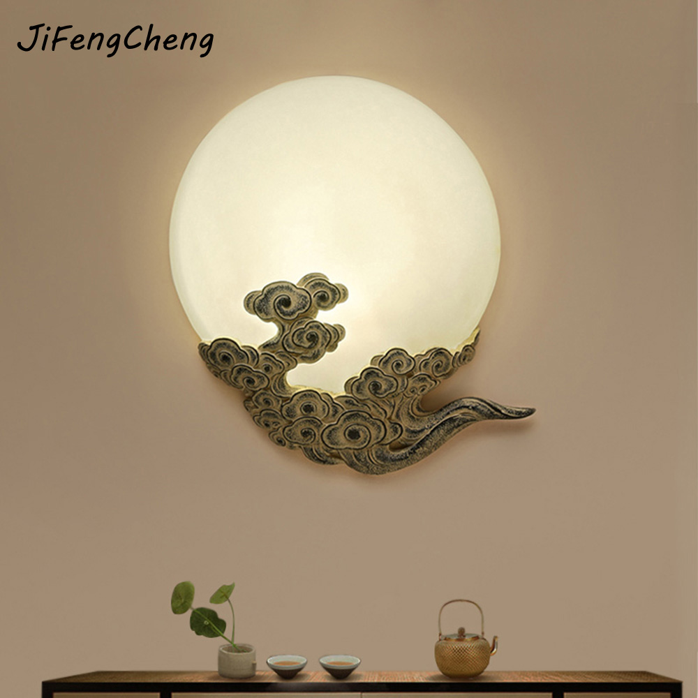 JIFENGCHENG Chinese style moon shaped wall lamp / hotel dining room lamp art deco corridor aisle wall lamp moon flac style