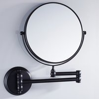 Matte Black Finish 8 Inch Solid Brass Bathroom Vanity Mirror Folding Wall Mount Makeup Double Side Magnification Mirror Antique