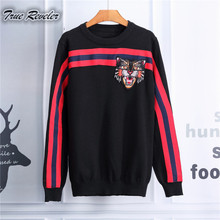 True Reveler Brand  Fashion men Sweaters autumn winter causal knitted striped sweater men Embroidery tiger head slim men pullove