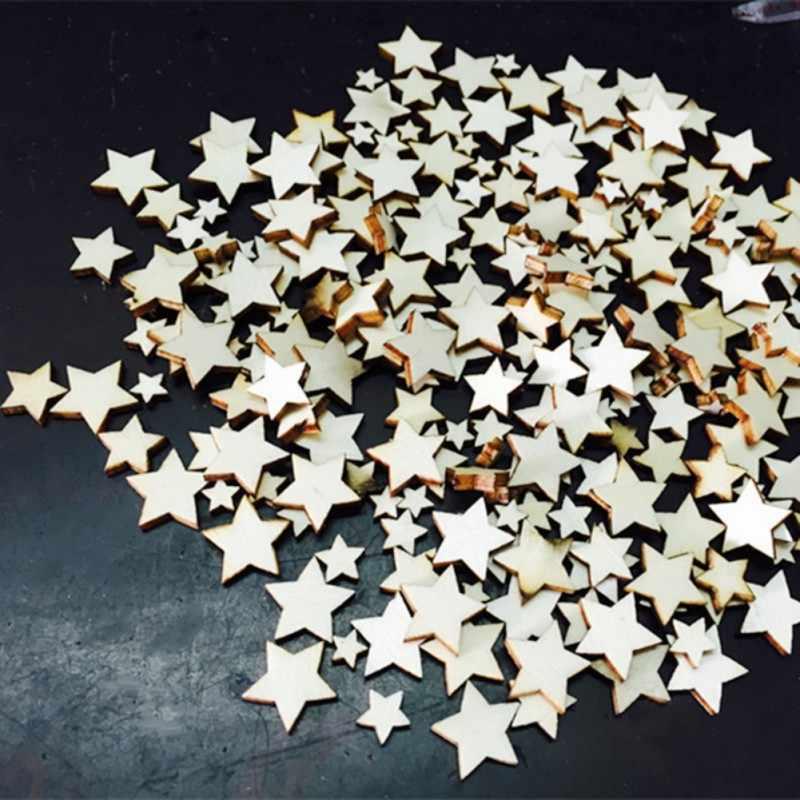 100 sztuk/zestaw piękny rustykalne drewniane pięcioramienna gwiazda drewno kawałki dekoracyjne wesele tabela Scatter rzemiosło dekoracyjne 2018