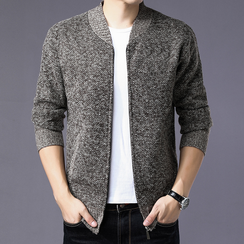 Mens Hooded Sweater Cardigan Jacket Knitted Jumper Coat Warm Casual Top Jacket