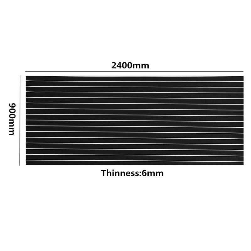 New Top Quality 2400X900x6mm Black and White Marine Flooring Faux Teak EVA Foam Boat Decking Sheet Foam <font><b>Floor</b></font> Mat Art Decor