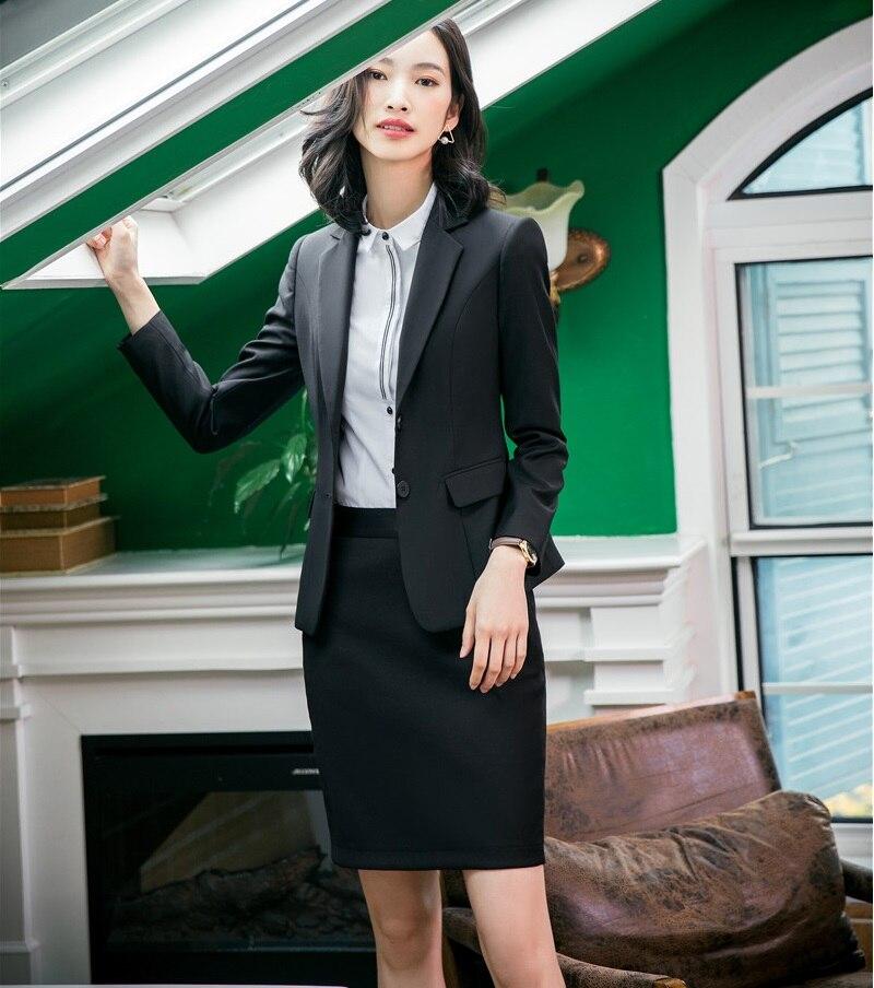 Aufrichtig Formale Weibliche Rock Anzüge Für Frauen Anzüge Schwarz Blazer Und Jacke Sets Damen Arbeit Tragen Büro Uniform Styles Gute QualitäT