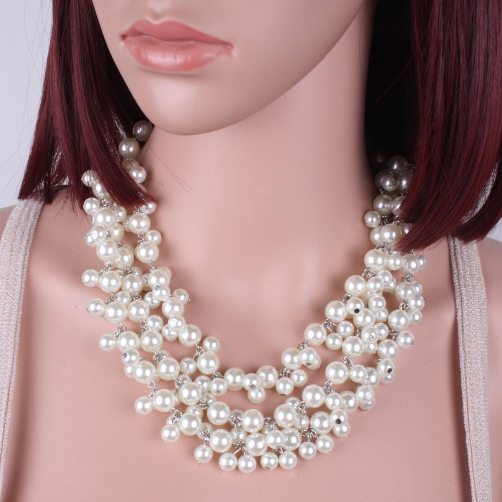 Bead Necklace New Fashion Multi Strand Pearl Beads Bohemian Necklace Women  Statement Party Jewelry 6740(