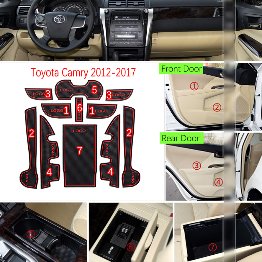 Image 3 - Anti Slip Mat For Toyota Camry 2012 2017 7 Gen XV50 Altis Aurion 50 MK7 Gate Slot Coaster Anti Dirty Door Groove Mat-in Anti-Slip Mat from Automobiles & Motorcycles