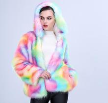Sexy&Club women rainbow faux fur coat warmed hooded fur jacket coat S-3XL Plus size fashion slim fur winter coat faux shearling hooded coat