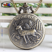 Canadian natural scenery – Elk and mountains Watch Limited Edition commemorative flip male ladies quartz pocket watch DS109