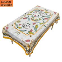 European Luxury Short Velvet Table Cloth Gold White Clothes Dinner Decoration High Grade Custom Made