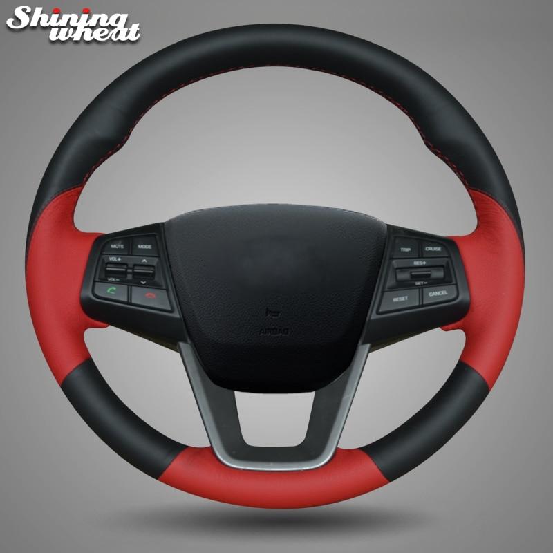 Shining wheat Black Red Leather Car Steering Wheel Cover for Hyundai ix25 2014-2016 Creta 2016 2017 коврики в салонные ниши синие ix25 для hyundai creta 2016