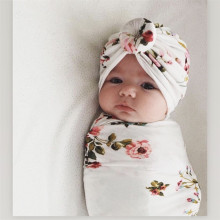 Шапка для новорожденных; шапка-тюрбан; хлопковая шапочка для младенцев; Пеленальное Одеяло для маленьких мальчиков и девочек; детская накидка с цветочным рисунком