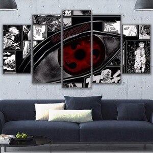 Cuadros modulares con imágenes artísticas en lienzo de alta definición con diseño de Anime, 5 piezas, póster de Naruto Sharingan, decoración moderna para el hogar