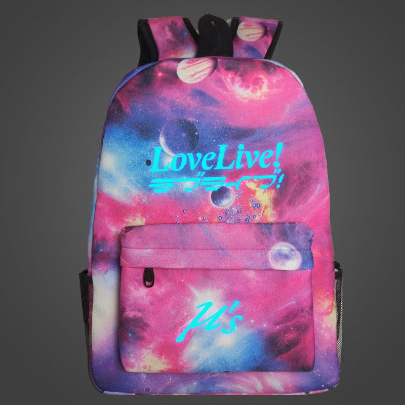 Love Live Cute Anime School Bag for Teenagers Girls Luminous Print Starry Sky Large Capacity Travel Rucksack