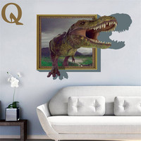 Creativo de la Historieta del Palillo de La Pared de Los Dinosaurios 3D Pegatinas de Pared Sala de estar Del Dormitorio Del Adorno para Habitación de Los Niños Regalo de Navidad Decorar El Hogar