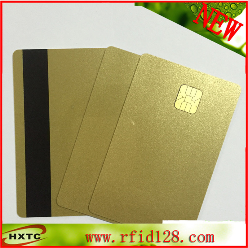 200PCS PVC blank Sle4428 Chip Gold Contact IC Card with HI-GO Magnetic Stripe 20pcs lot contact sle4428 chip gold card with magnetic stripe pvc blank smart card purchase card 1k memory free shipping