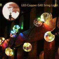 VNL 9M 25 G40 Led Globe String Lights With RGB Clear Bulbs Backyard Patio Lights Vintage