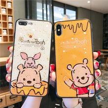 Glitter Cartoon Winnie Pooh case For huawei Honor 8X Play V10 V20 10 Lite For P20 PRO P30 PRO MATE 20 PRO Nova 3 3i 4 4e Cover diamond case for huawei p30 p20 pro lite cover for huawei mate 20 pro honor 10 20 8x 9x nova 3 5 4 e glitter ring holder cases