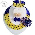 Красивая Королевский Синий Желтый кристалл ожерелья бижутерия нигерии свадебные африканские бусы комплект ювелирных изделий для женщин ABF279