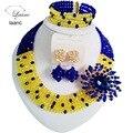 Hermosa Royal Blue Yellow crystal collares bisutería boda nigeriano beads africanos joyería conjunto para las mujeres ABF279