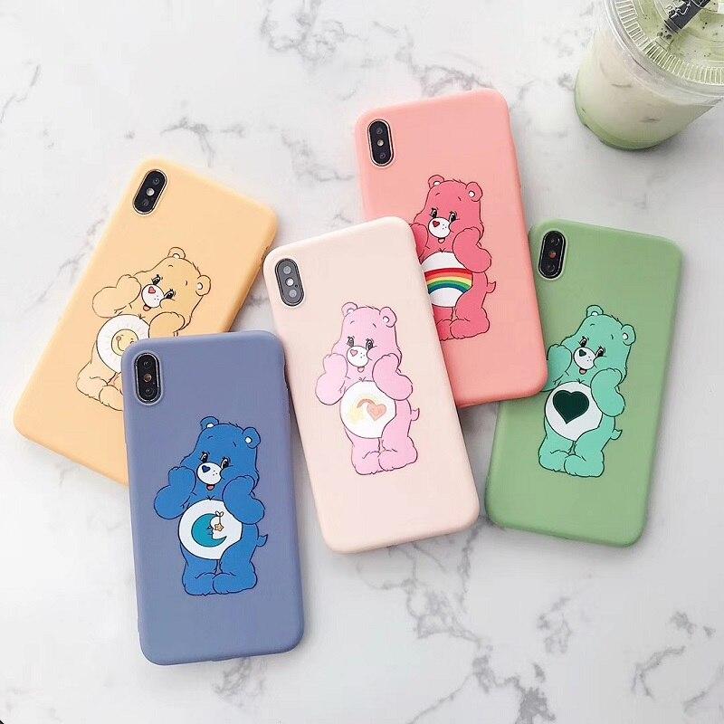 Rainbow bears cartoon silicone soft case for iphone XS MAX XR X cute strawberry bear matte phone 6 6s 7 8 plus