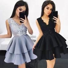 2018 New Fashion Womens Lace Evening Party Wedding Mini Dress Ladies Summer  Sleeveless V Neck Ball Gown Skater Dress Black Blue d0391f011