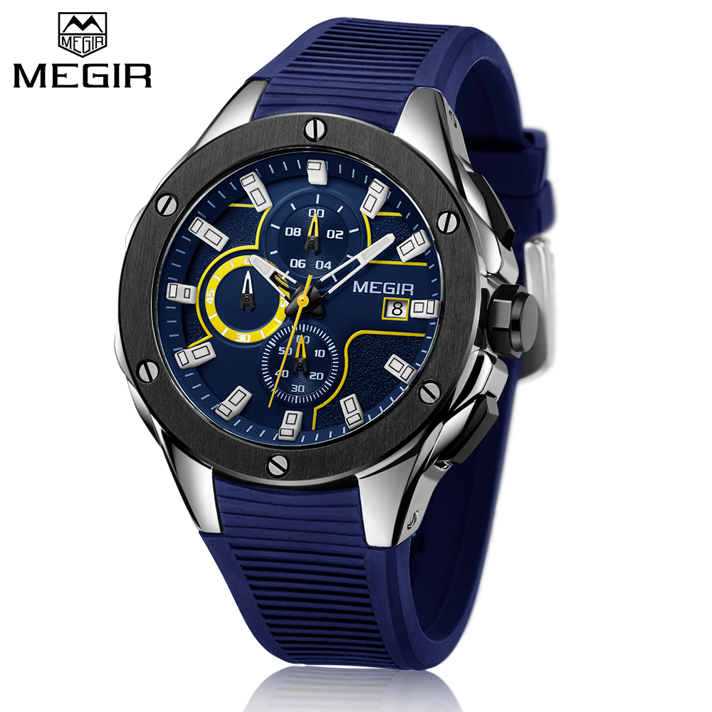 Top Brand Luxury MEGIR Men Sport Watch Chronograph Silicone Strap Quartz Military Big Dial Watches Clock Male Relogio Masculino gimto top brand luxury men watch leather military male watches big dial calendar quartz wristwatch sport clock relogio masculino