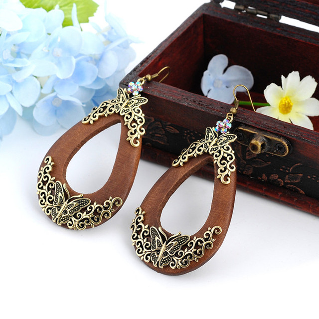 Butterfly Style Wooden Drop Earrings