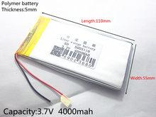 Kostenloser versand 3,7 V lithium-polymer-batterie 4000 mah große-kapazität PDA tablet PC MID 5055110