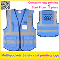 Custom printing company  logo security vest Safety reflective blue vest work vest  traffic uniform  free shipping
